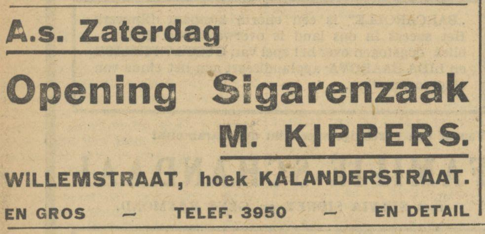 Willemstraat hoek Kalanderstraat sigarenzaak M. Kippers advertentie Tubantia 30-8-1935.jpg