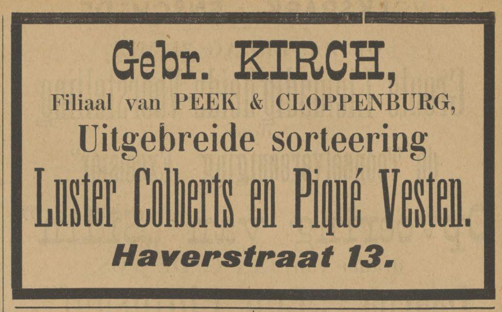 Haverstraat 13 Gebr. Kirch Filiaal van Peek en Cloppenburg advertentie Tubantia 31-5-1902.jpg