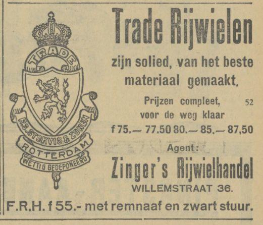Willemstraat 36 Zinger's Rijwielhandel advertentie Tubantia 17-5-1929.jpg
