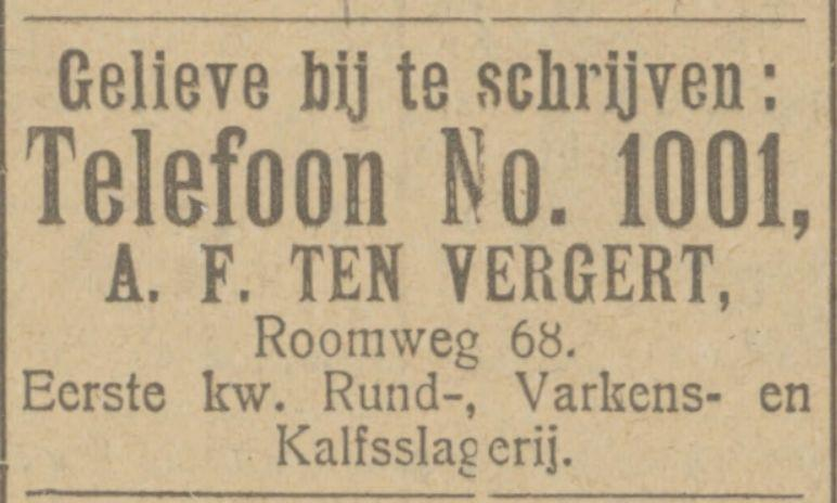 Roomweg 68 slagerij A.F. ten Vergert advertentie Tubantia 6-9-1924.jpg
