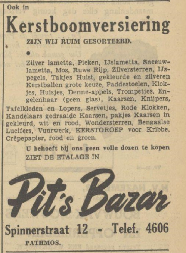 Spinnerstraat 12 Pit's Bazar advertentie Tubantia 20-12-1949.jpg