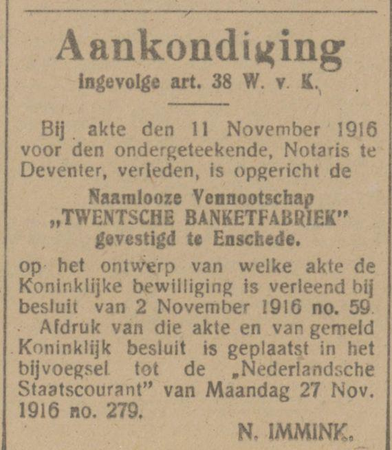 Twentsche Banketfabriek advertentie Tubantia 2-12-1916.jpg