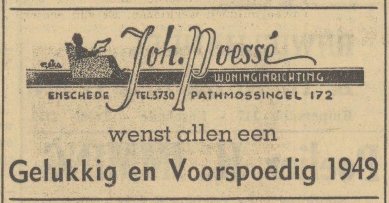 Pathmossingel 172 Woninginrichting Joh. Poessé advertentie Tubantia 31-12-1948.jpg