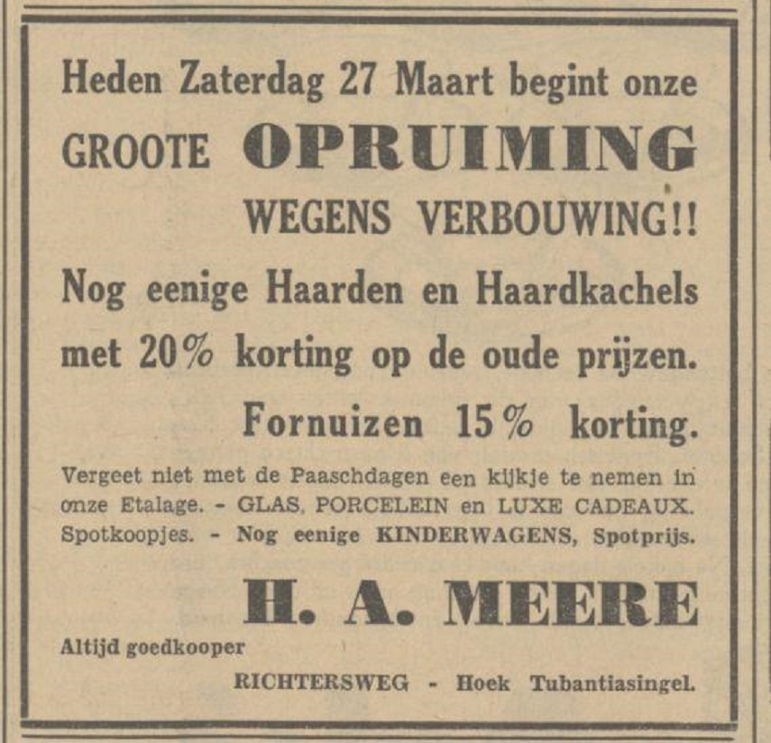 Richtersweg hoek Tubantiasingel H.A. Meere advertentie Tubantia 27-3-1937.jpg