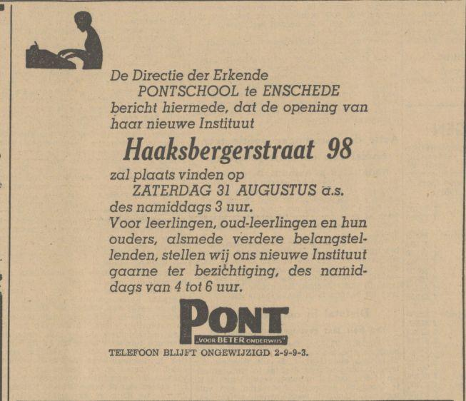 Haaksbergerstraat 98 Pontschool advertentie Tubantia 28-8-1940.jpg