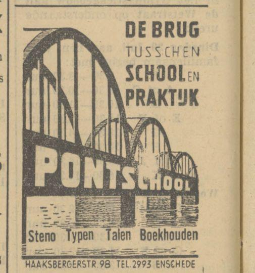 Haaksbergerstraat 98 Pontschool advertentie Tubantia 26-7-1942.jpg