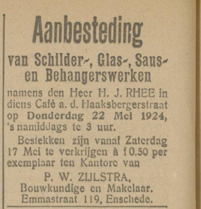 Haaksbergerstraat cafe H.J. Rhee advertentie Tubantia 16-5-1924.jpg