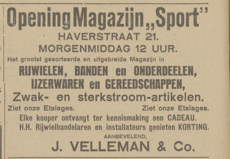 Haverstraat 21 Magazijn Sport Velleman & Co advertentie Tubantia 19-9-1924.jpg
