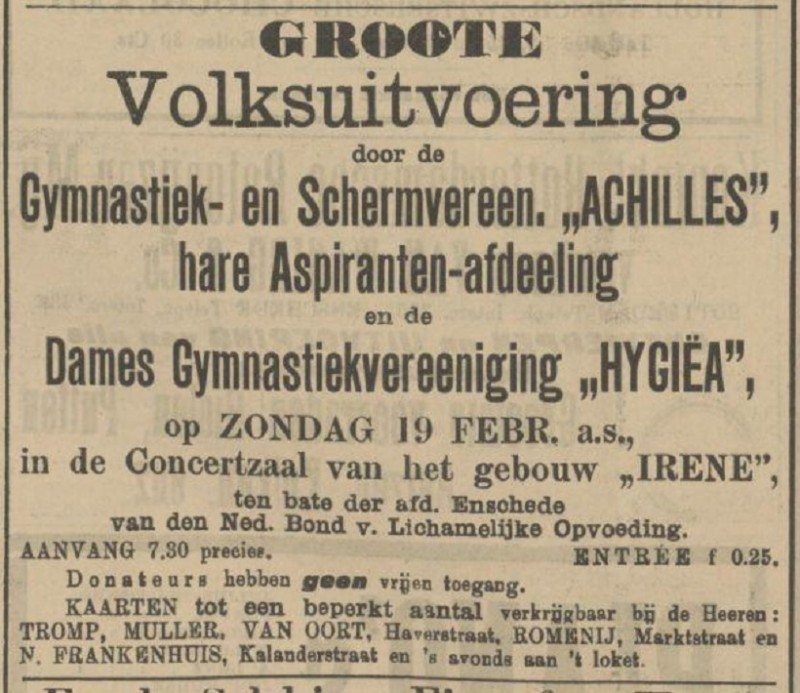 Dames Gymnastiekvereeniging Hygiea advertentie Tubantia 18-2-1911.jpg