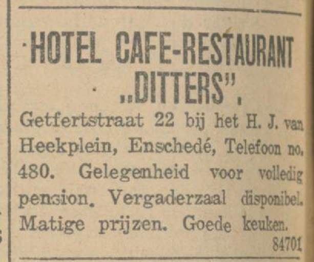 Getfertstraat 22 Hotel cafe restaurant Ditters advertentie 17-2-1924.jpg