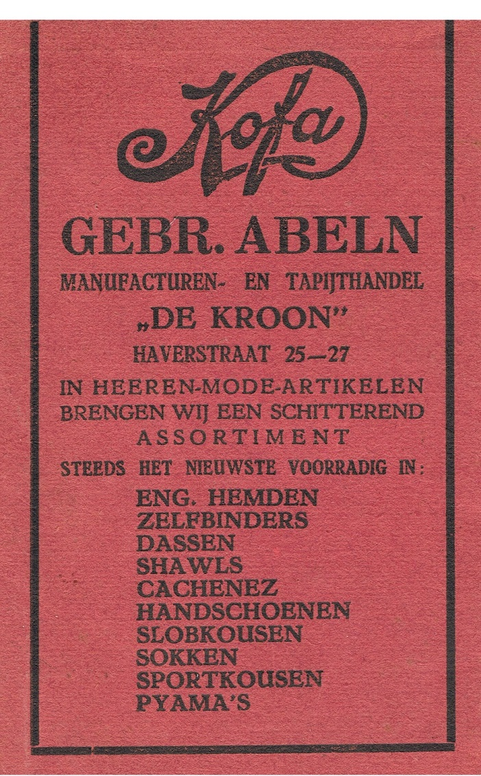 Haverstraat 25-27 Kofa Gebr Abeln Manufacturen- en Tapijthandel De Kroon advertentie 1931.jpeg