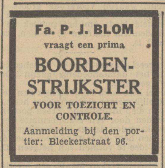 Blekerstraat 96 Fa. P.J. Blom advertentie Tubantia 15-8-1936.jpg
