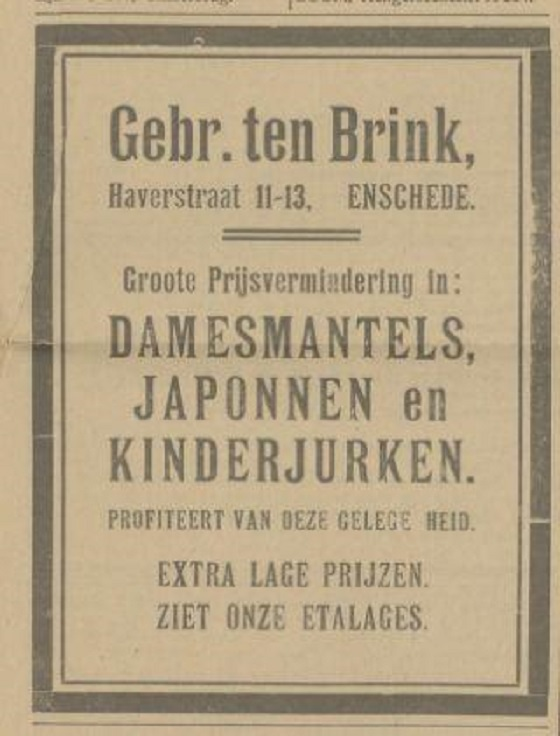 Haverstraat 11-13 Gebr. ten Brink advertentie Tubantia 12-6-1924.jpg