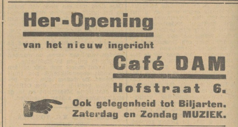 Hofstraat 6 cafe Dam advertentie Tubantia 3-9-1932.jpg
