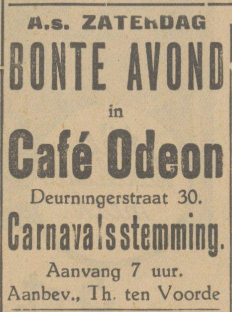 Deurningerstraat 30 cafe Odeon carnaval advertentie Tubantia 1-2-1935.jpg