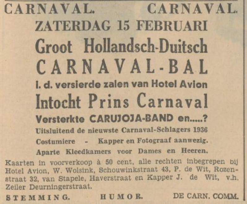 Deurningerstraat 27 Hotel Avion carnaval advertentie 7-2-1936.jpg