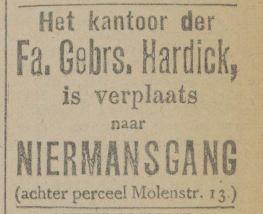 Niermansgang Gebr. Hardick advertentie 8-2-1919.jpg