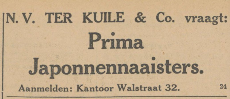 Walstraat 32 N.V. Ter Kuile & Co. advertentie Tubantia 26-6-1931.jpg