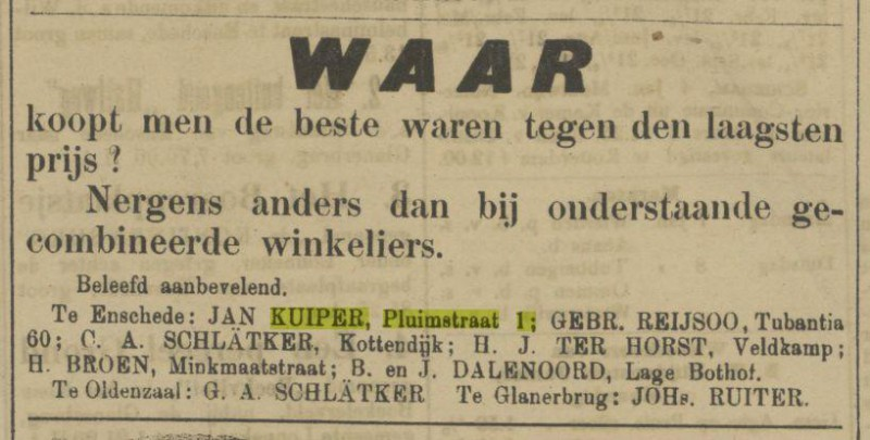 Pluimstraat 1 Jan Kuiper advertentie Tubantia 5-1-1907.jpg