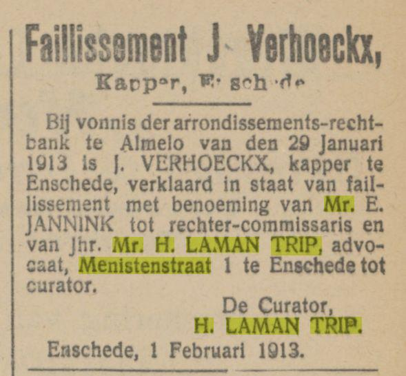 Menistenstraat 1 Mr. H. Laman Trip advertentie Tubantia 3-2-1913.jpg
