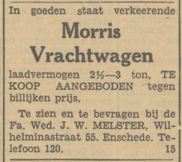 Wilhelminastraat 55 Firma Wed. J.W. Melster advertentie Tubantia 12-1-1933.jpg