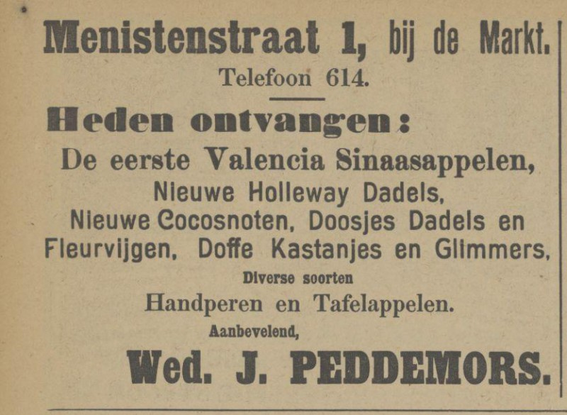 Menistenstraat 1 Wed. J. Peddemors advertentie Tubantia 1-11-1913.jpg