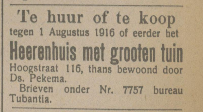 Hoogstraat 116 Ds. Pekema advertentie Tubantia 9-10-1915.jpg