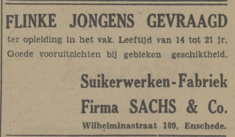 Wilhelminastraat 109 Suikerwerkenfabriek Firma Sachs & Co. advertentie Tubantia 13-4-1948.jpg