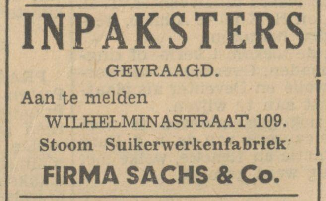 Wilhelminastraat 109 Firma Sachs & Co. advertentie Tubantia 27-4-1936.jpg