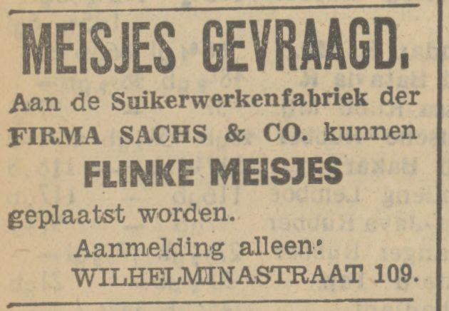 Wilhelminastraat 109 Suikerwerkenfabriek Firma Sachs & Co. advertentie Tubantia 13-4-1934.jpg