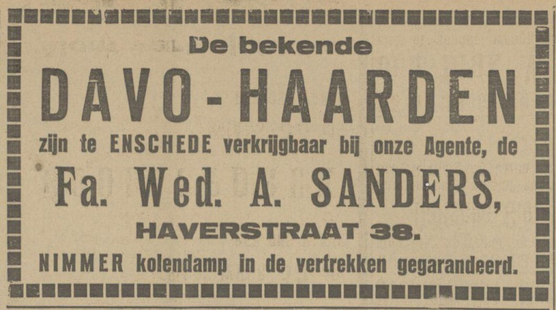 Haverstraat 38 Fa. Wed. Ant. Sanders advertentie Tubantia 18-9-1923.jpg