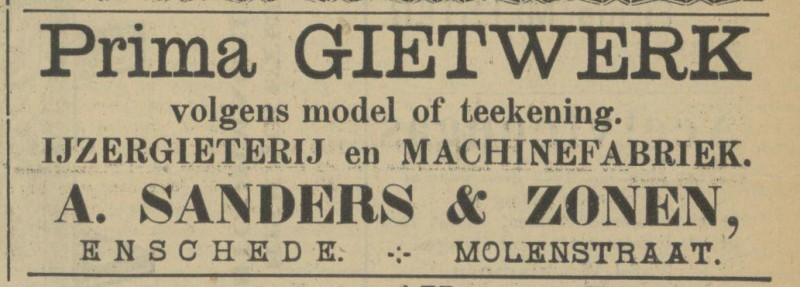 Molenstraat A. Sanders & Zonen IJzergieterij en Machinefabriek advertentie Tubantia 6-8-1910.jpg