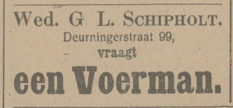 Deurningerstraat 99 Wed. G.L. Schipholt advertentie Tubantia 9-2-1916.jpg