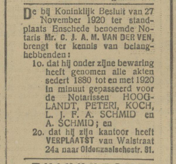 Walstraat 24a Notaris A. Schmid advertentie Tubantia 24-1-1921.jpg