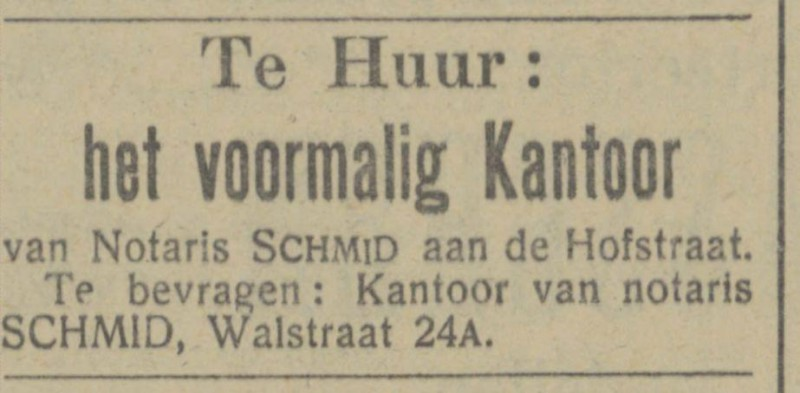 Walstraat 24a Notaris Schmid advertentie Tubantia 29-11-1913.jpg