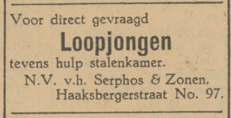 Haaksbergerstraat 97 N.V. v.h. Serphos & Zonen advertentie Tubantia  6-8-1928.jpg