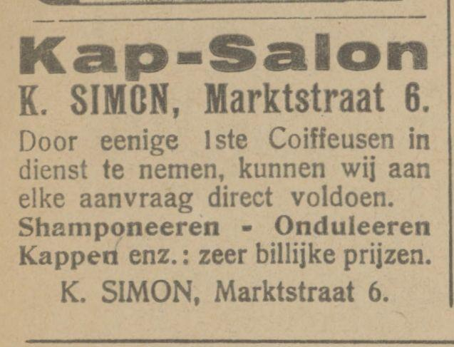 Marktstraat 6 K. Simon kapsalon advertentie Tubantia 22-12-1921.jpg