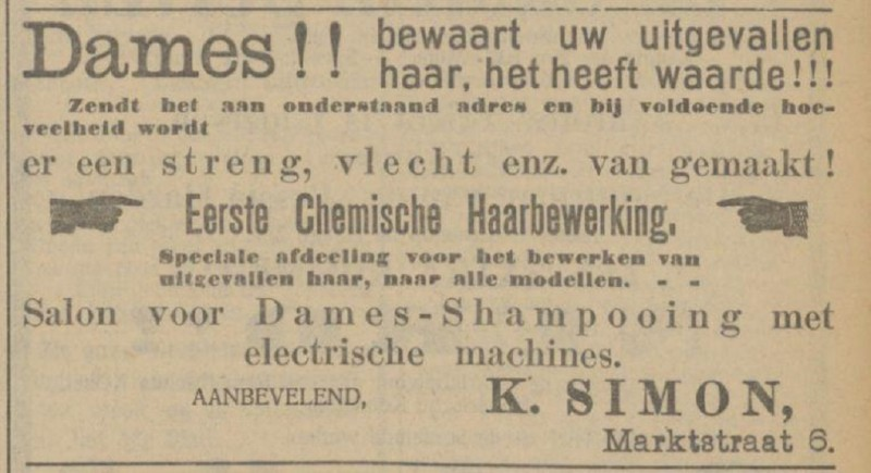 Marktstraat 6 K. Simon dameskapper advertentie Tubantia 30-5-1913.jpg