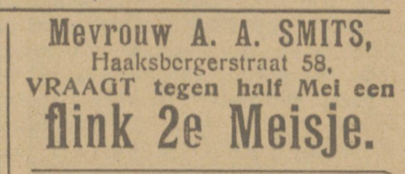 Haaksbergerstraat 58 A.A. Smits Arts advertentie Tubantia 1-4-1925.jpg