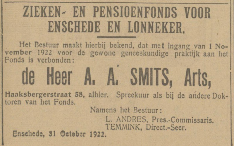 Haaksbergerstraat 58 A.A. Smits Arts advertentie Tubantia 31-10-1922.jpg