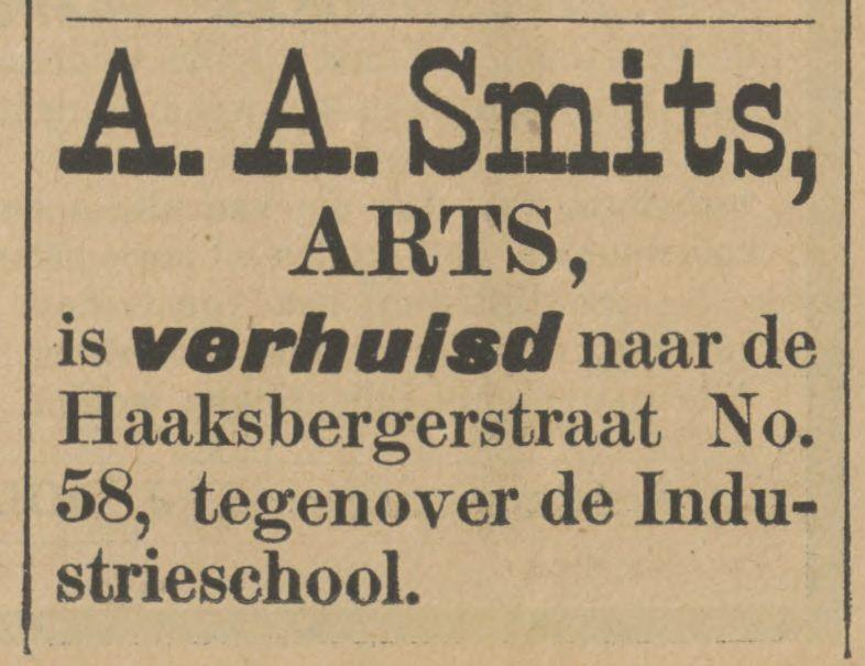 Haaksbergerstraat 58 A.A. Smits Arts advertentie Tubantia 15-2-1902.jpg
