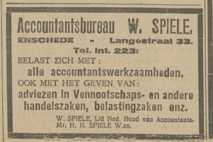 Langestraat 33 W. Spiele Accountantsbureau advertentie Tubantia 30-8-1920.jpg