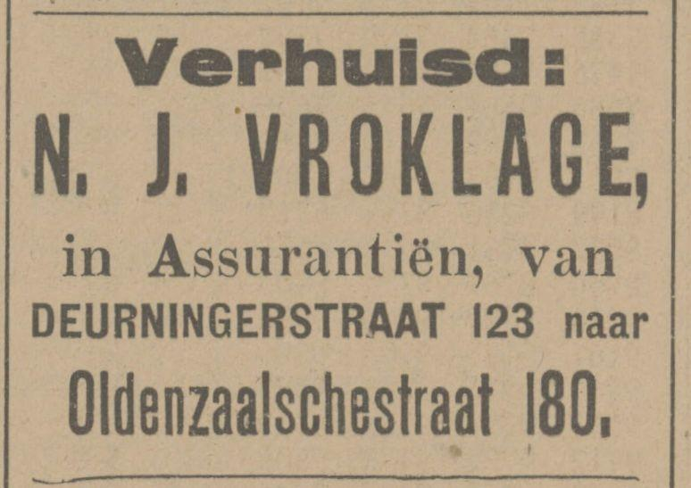 Deurningerstraat 123 N.J. Vroklage advertentie Tubantia 1-12-1916.jpg