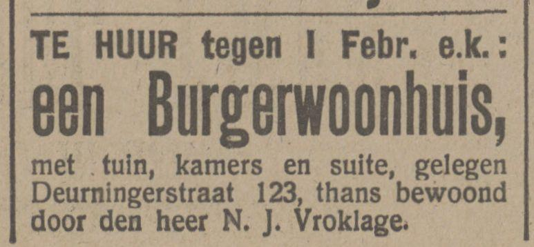 Deurningerstraat 123 N.J. Vroklage advertentie Tubantia 6-12-1915.jpg