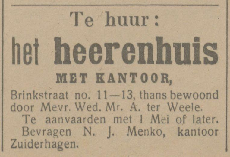 Brinkstraat 11 Mr. A. ter Weele advertentie Tubantia 28-1-1916.jpg