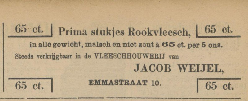Emmastraat 10 Slager Jacob Weijel advertentie Tubantia 12-6-1909.jpg