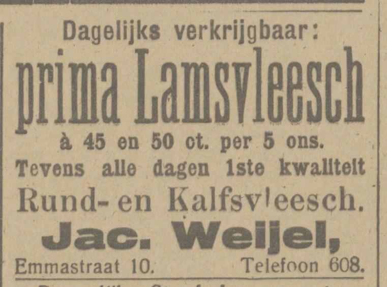 Emmastraat 10 Slager Jacob Weijel advertentie Tubantia 26-10-1916.jpg