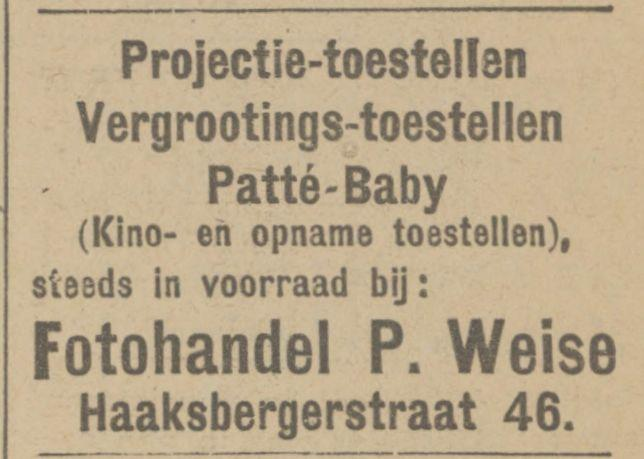 Haaksbergerstraat 46 P. Weise advertentie Tubantia 10-11-1924.jpg
