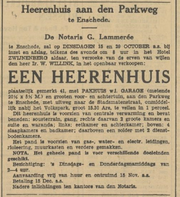 Parkweg 41 W. Willink advertentie Tubantia12-10-1935.jpg