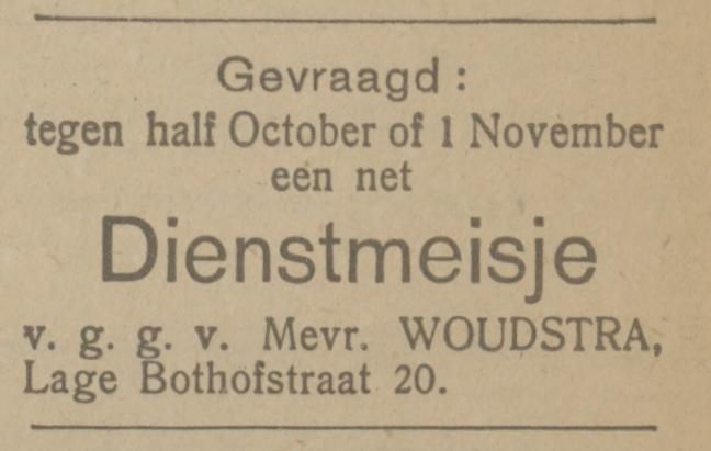 Lage Bothofstraat 20 Mevr. Woudstra advertentie Tubantia 9-9-1921.jpg